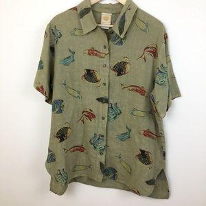 Tom Tom California linen tropical fish blouse top
